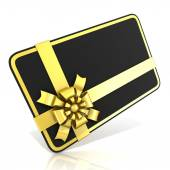 Black blank gift card, with golden ribbon. 3D render illustration isolated on white. Side angled view — Stockfoto