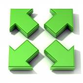 Green 3D arrows expanding. Top view, isolated on white background. — Stock Photo