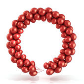 Red balloons wreath, isolated on white — Stock Photo