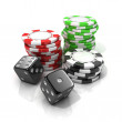 Stacks of red, green, black gambling chips and black dices isolated on white background. 3D illustration — Stock Photo #70647125