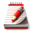 Red notepad and red pen, 3D render illustration, isolated on white background. Front view — Foto de Stock   #70647877