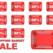 Collection of red shopping basket sale tags. Discount signs — Stock Photo #71077263
