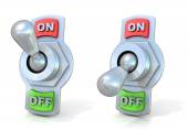On and off metal toggle switches — Stockfoto