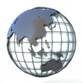 Polygonal style illustration of earth globe, Asia and Oceania view — Stock Photo