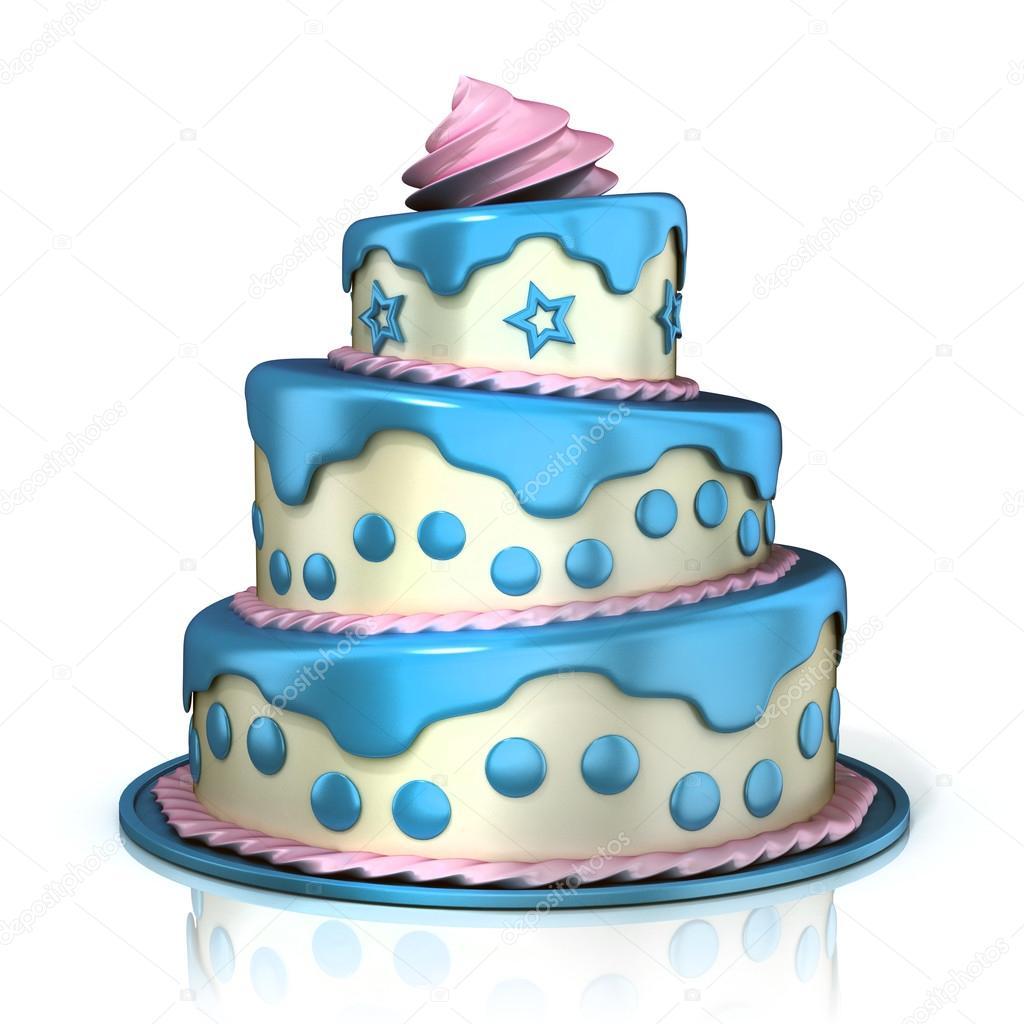 Три этажа торт Голубой розовый и белый крем Стоковое