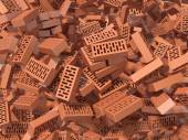 Heap of falling, flying, scattered bricks background — Stock Photo
