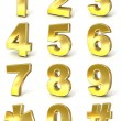 Numerical digits collection, 0 - 9, plus hash tag and asterisk. 3D golden signs isolated on white background. Render illustration. — Stock Photo #71603105