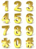 Numerical digits collection, 0 - 9, plus hash tag and asterisk. 3D golden signs isolated on white background. Render illustration. — Stock Photo