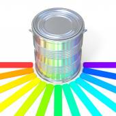 Colors guide reflection on a tin — Stock Photo