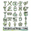 25 hand drawn holidays and travel icons collection. Vector format — Stock Vector #74947651
