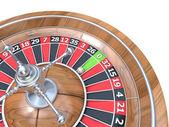 Roulette wheel. 3D render illustration isolated on white background. Detail on zero green pocket — Stock Photo