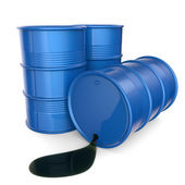 Blue oil barrels. 3D render — Stock Photo