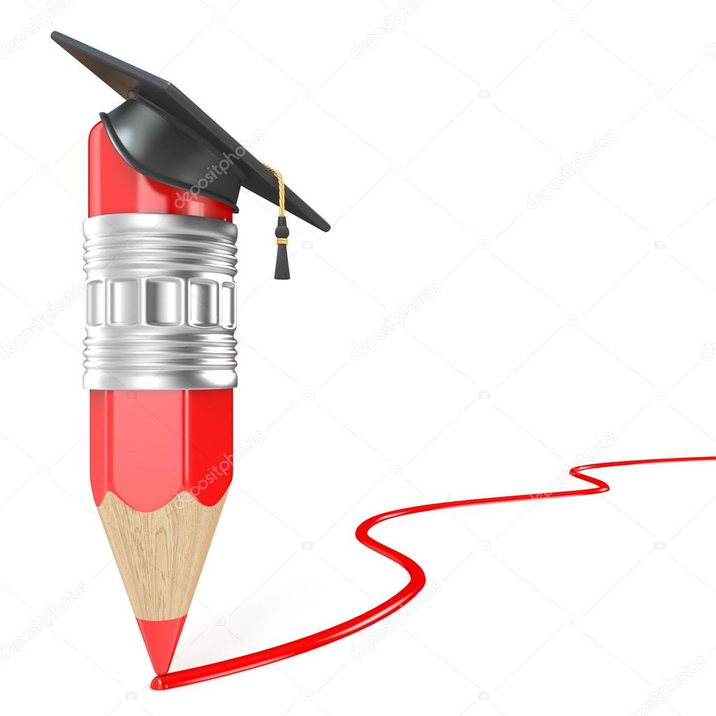 Lápiz rojo con un gorro de graduación dibujo línea roja. Concepto de educación. 3D