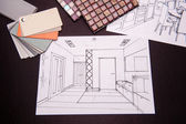 Interior sketches, bedroom, living room, kitchen. — Стоковое фото