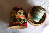 Matryoshka dolls colorful piggy bundle of money — Foto Stock