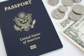 US passport and coins — Foto Stock
