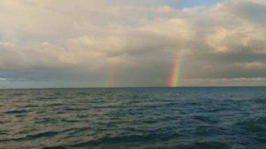 Rainbow over the Black Sea — Stock Video