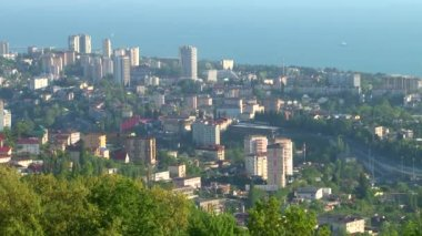 Panoramic views of the center of the city of Sochi and the surrounding area on the Black Sea — Stock Video