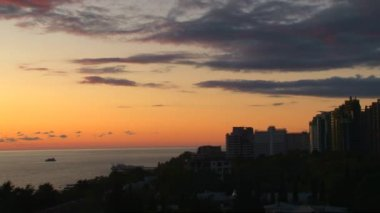Sunset in the city of Sochi, Russia, the Caucasus — Stock Video