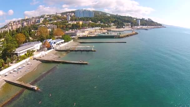 Panorama of the coast of Sochi from the air. Russia and the Caucasus. — Vídeo de stock