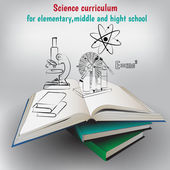 Vector illustration,books and graphic elements,poster for education. — Stockvector