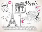 Retro poster of Paris — Stock Vector