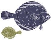 Flounder fish icons — Stockvector