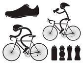 Silniční cyklistická sportovní ikony — Stock vektor