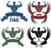 Bodybuilding sport icons — Stock Vector