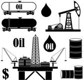 Oil Industry black icons set — Stock Vector