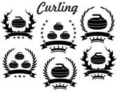 Curling. sport icons set — Stock Vector