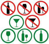 Don't drink, forbidding icons — Stock Vector