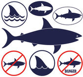 Shark fishes icons set — Stock Vector