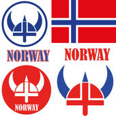 Norway country icons set — Stock Vector