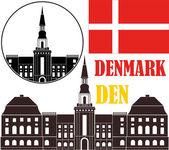 Denmark Icons set — Stock Vector