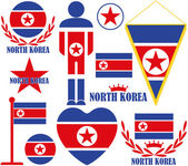 North Korea icons set — Stock Vector