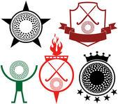 Field hockey icons set — Vetor de Stock