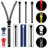 Zipper icons set — Stock Vector
