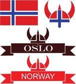 Norway icons set — Stock Vector