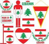 Lebanon flat icon set — Wektor stockowy
