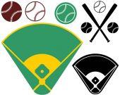 Baseball field flat icon set — ストックベクタ