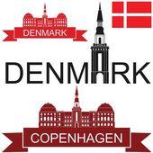Denmark flat icon set — Stock Vector