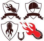 Horse racing flat icon set — Stock Vector