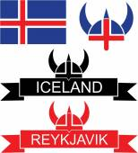 Iceland flat icon set — Stock Vector