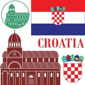 Croatia flat icon set — Stock Vector