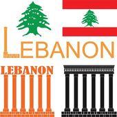 Lebanon flat icon set — Vettoriale Stock