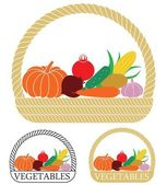 Vegetables flat icon set — Stock Vector