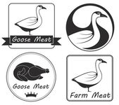 Goose flat icon set — Stock Vector