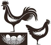 Poultry flat icon set — Stock Vector