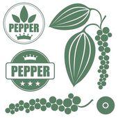 Black pepper icons set — Stock Vector